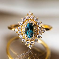 Blue Topaz Dynasty Ring