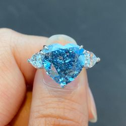 Double Prong Heart Blue Three Stone Engagement Ring