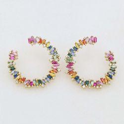 Rainbow Sapphire Sideways Hoop Earrings