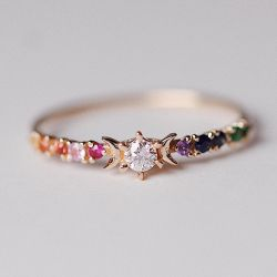 Sterling Silver Rainbow Stardust Ring