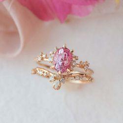 Oval Cut Golden Pink Bridal Set