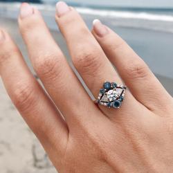 Old Euro Cut Sapphire Art Deco Ring