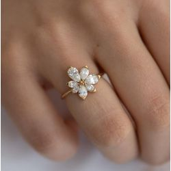 Asymmetric Blossom Engagement Ring with Pear Cut