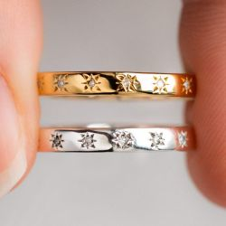 Simple Star Set Eternity Band