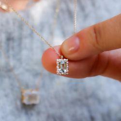 Golden Halo Emerald Pendant Necklace