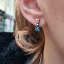 Pear Aquamarine Drop Earrings