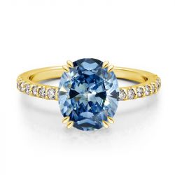 Golden Oval Cut Blue Engagement Ring
