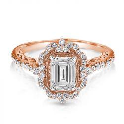 Vintage Halo Engagement Ring in Rose Gold