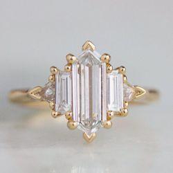 Five Stone Baguette Cut Hex Engagement Ring