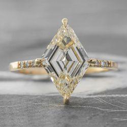 Step Cut Lozenge Stone Engagement Ring