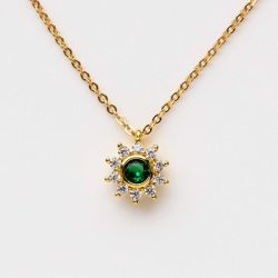 Green Sunflower Necklace