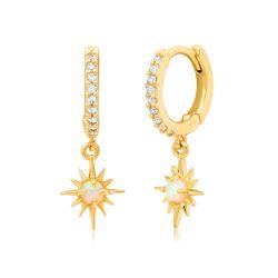 Pave Huggie With Opal Drop Earrings