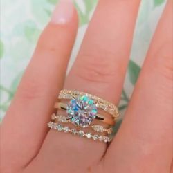 Stackable Round Cut Ring Set