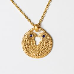 Sterling Silver Falcon Necklace with Sapphire