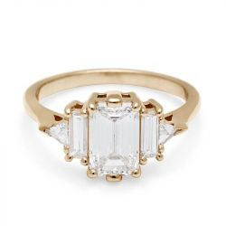 Five Stone Emerald Cut Engagement Ring