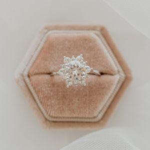 Round Cut Flower Engagement Ring