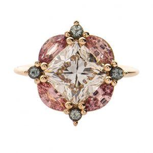 Golden Flower Design Cushion Cut Engagement Ring