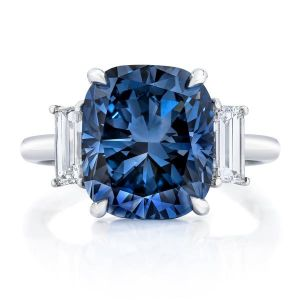 Blue with Baguette Side Stones Engagement Ring