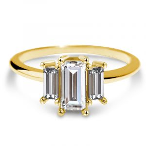 Three Stone Baguette Cut Engagement Ring