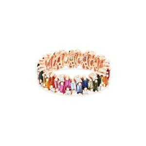 Rainbow Sapphire Eternity Band