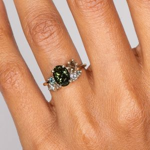 Green Oval Sapphire Cluster Ring