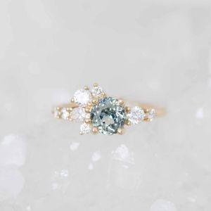 Golden Round Cut Engagement Ring