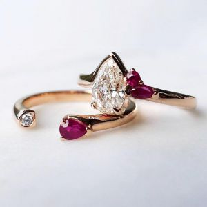 Rose Golden Pear Ruby Engagement Ring