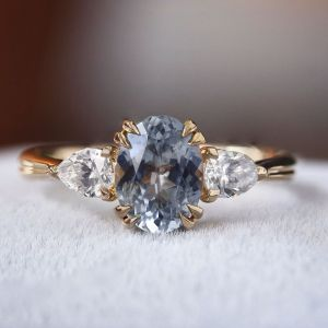 Oval Cut Steely Blue Engagement Ring