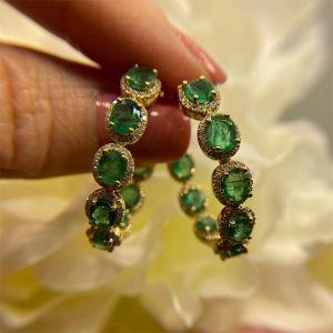 Halo Green Oval Cut Hoop Earrings