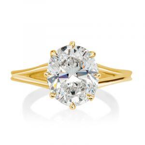 Split Shank Oval Cut Engagement Ring