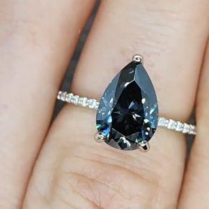 Dark Pear Engagement Ring