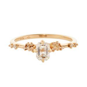 Golden Emerald Cut Engagement Ring