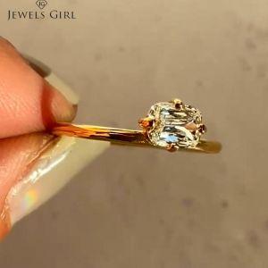 Emerald Cut Golden Solitaire Engagement Ring